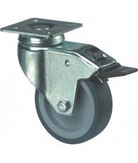 Zwenkwiel rubber met rem blauw/grijs 75mm