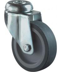 Zwenkwiel rubber met boutgat blauw/grijs 100mm