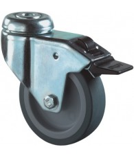 Zwenkwiel+rem met boutgat blauw/grijs 75mm