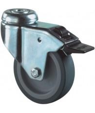 Zwenkwiel+rem met boutgat blauw/grijs 100mm